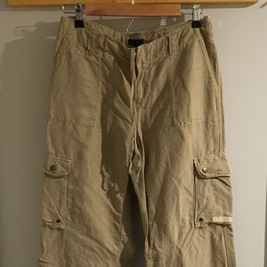 Tan drawstring linen cargo pants